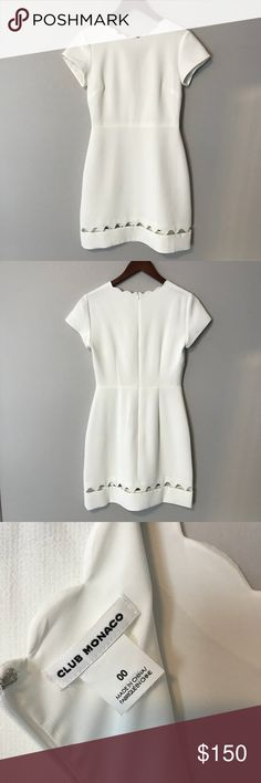 Club Monaco White Scallop Dress 00 Worn once for my bridal shower. Like new condition. Perfect for any wedding occasion or graduation. Club Monaco Dresses Midi