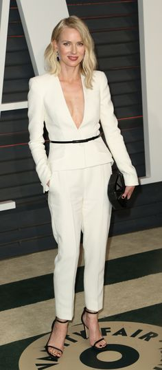 Oscars 2015: The Best of the After-Party Dresses- Naomi Watts at the Vanity Fair Oscars party in a tailored, yet sexy, all white pant suit.