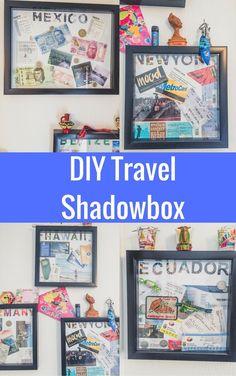 DIY Travel Shadow Box Ideas To Preserve Your Memories, # Preserve # Erin . - DIY Travel Shadow Box ideas to keep your memories # keep - Shadow Box Diy, Travel Shadow Boxes, Shadow Box Frames, Ideas Scrapbook, Travel Scrapbook, Travel Souvenirs, Travel Maps, Travel Photos, Travel Box