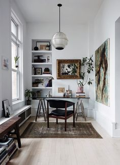 home office nook with glass and chrome desk and leather and wood chair and large pendant lighting fixture.inspiring home office nook with glass and chrome desk and leather and wood chair and large pendant lighting fixture. Small Space Office, Home Office Space, Home Office Design, Home Office Decor, Home Design, Home Decor, Office Ideas, Small Office Design, Small Workspace