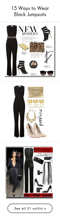 """""""15 Ways to Wear Black Jumpsuits"""" by polyvore-editorial ❤ liked on Polyvore featuring DateNight, Blackjumpsuit, waystowear, A.L.C., Tory Burch, Balmain, Clare V., Goldgenie, Ray-Ban and Sophia Webster"""