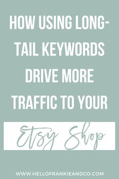 Learn the importance of Etsy SEO and why you should be using long-tail keywords in your titles and tags to get found in search and bring more traffic to your Etsy shop. Etsy Business, Craft Business, Business Tips, Business Entrepreneur, Business Marketing, Etsy Seo, Opening An Etsy Shop, Shops, Sell On Etsy
