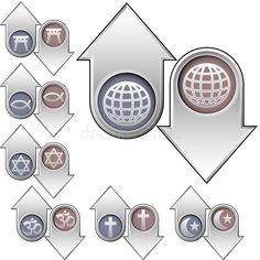 les symboles de religion de flèches vers le bas lèvent le monde illustration de vecteur Augmentation, Ancient Symbols, Religion, Illustration, Illustrations