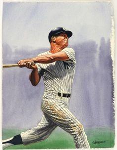 2000 Mickey Mantle New York Yankees 11 X 14 G Johnson Ii Original Art