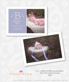 """Bailey"" is a monogram style contemporary birth announcement template that's easy to update for a newborn girl or boy. Includes a bonus color palette. • Photoshop templates for Pro Photographers by FOTOVELLA 
