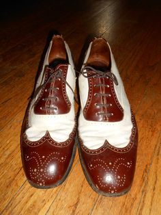 1940's size 10 spectator vintage men's shoes brown off white leather soft  great condition
