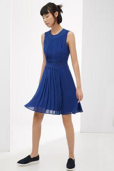 Vestido fluido con pliegues | Adolfo Dominguez shop online