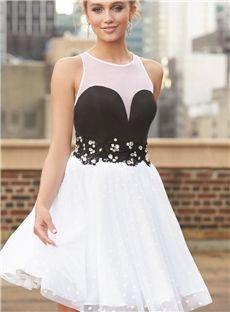 Adorable Beading Halter Short Prom Homecoming Dress
