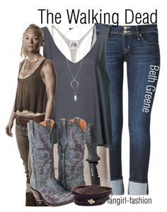 """""""Beth Greene- AMC's The Walking Dead"""" by avey-kates ❤ liked on Polyvore featuring Hudson Jeans, Mlle Mademoiselle, Topshop, Scotch & Soda, Lucchese, FOSSIL, Ila&I, AMC, thewalkingdead and beth"""