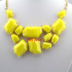 High Quality Gold Tone Statement Necklace Yellow Bib by OnlyPearl, $10.40