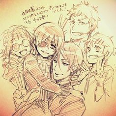 Mey-Rin, Ciel, Sebastian, Finnian and Bardroy