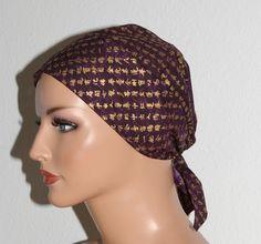 """Kopftücher - Kopftuch """"Ella"""" in Lila-Gold gemustert - ein Designerstück von beHUETE-dich bei DaWanda"""