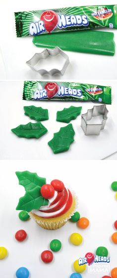 It is simple to craft and create these Christmas Holly Cupcake Toppers! Decorate your holiday dessert table with your kid's favorite candy Airheads! These simple treats are easily cut and molded into unique shapes – perfect for dessert decorating. Christmas Snacks, Christmas Cooking, Christmas Goodies, Christmas Candy, Holiday Treats, Holiday Recipes, Christmas Holidays, Xmas, Christmas Manger