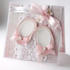 Adorable Baby Shoe Card...with pink ribbon & lace.