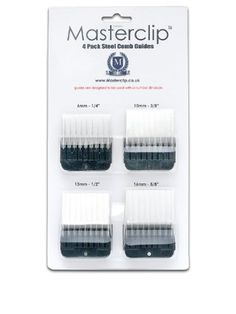 """Aus der Kategorie Scheren & Schermaschinen  gibt es, zum Preis von EUR 27,99  MasterClip 4 Pack Metal Comb Guides  Sprung loaded and easy to fit pack of 4 metal comb guides offering a variety of cutting depths. Made to fit the MasterClip Pedigree, Andis, Oster, Moser Max 45, Aesculap Fav5 and any other A5 dog clipper that has snap on/snap off blades.  MasterClip 4 Pack Comb Set  6mm = 1/4"""" comb guide 10mm = 3/8"""" comb guide 13mm = 1/2"""" comb guide 16mm = 5/8"""" comb guide  For best results comb…"""