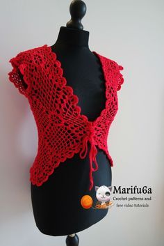 Free crochet patterns and video tutorials: How to crochet red jacket by marifu6a