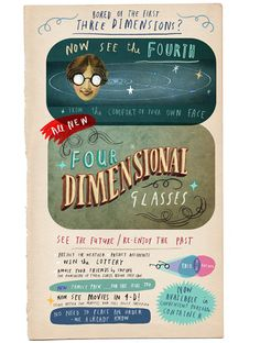 "4D Glasses by Oliver Jeffers | ""From the comfort of your own face!"" ""No need to place an order - we already know!"""