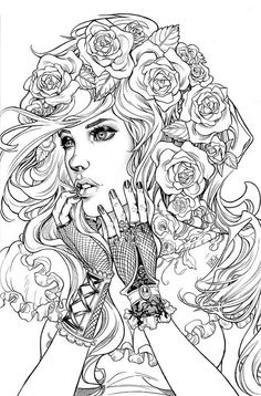 Printable Coloring Pages For Adults Free Designs} Pictures To Color For Adults In Adult Coloring Pages Style - Best Coloring Pages Coloring Pages For Grown Ups, Adult Coloring Book Pages, Free Coloring Pages, Printable Coloring Pages, Coloring Books, Coloring For Adults, Tumblr Coloring Pages, People Coloring Pages, Hair Coloring