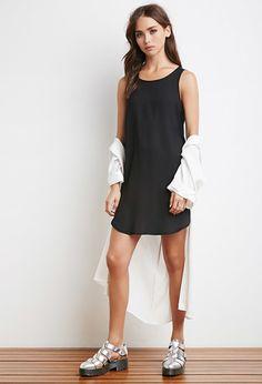 Semi-Sheer Curved Hem Dress | Forever 21 - 2000131509