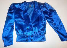 Iconic Vintage 80's Emanuel UNGARO Parallele Sapphire Blue SATIN Dress Jacket // 1980's Structured // Retro Glam / Designer Jacket Top by TheVintageVaultShop on Etsy