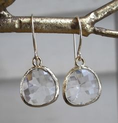 crystal clear glass drop earrings  in gold  by sdotjewelry on Etsy, $40.00