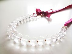 Lovely Wine Tasting Necklace with Clear Crystals and Grosgrain Ribbon