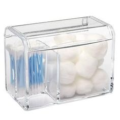 Tall 3-Section Acrylic Hinged-Lid Box | The Container Store