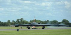 A B-2A, one of the nation's nuclear-capable bombers, lands at RAF Fairford, Britain, June 8, 2014. Photo by SSgt. Nick Wilson