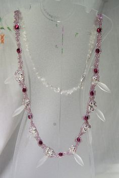 Cranberry  Red  Silver and Frost Dagger Bead by gartenglitz, $24.00