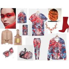 flowers red and blue by jbjart on Polyvore featuring Dolce&Gabbana, LULUS and Flowers