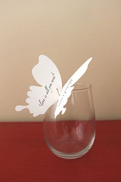 Butterfly Kisses wine glass placecards  set of 50 by thebridegene, $100.00