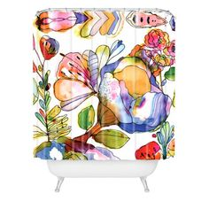 DENY Designs Cayenablanca Pastel Blossom Shower Curtain