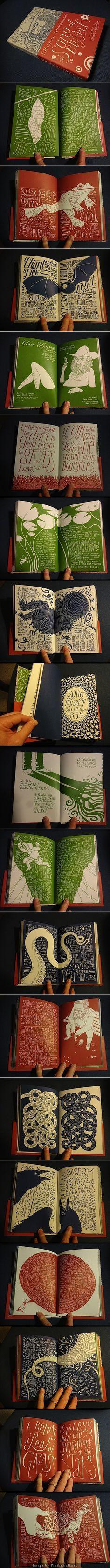 """Qué maravilla de libro! El ilustrador Allen Crawford ha reinterpretado el poema de 60 páginas de Whitman (editado en 1855) y la ha convertido en en una obra de arte de 256 páginas. Con textos escritos a mano e ilustraciones entremezcladas de una manera sorprendente y en total sintonía con el espíritu exuberante, áspero y salvaje del poema. """"Whitman Illuminated: Song of Myself"""" debe ser una sensacional experiencia de lectura."""