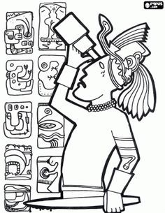 Mayan Civilization coloring page 2 Maya Inca Aztque Pinterest