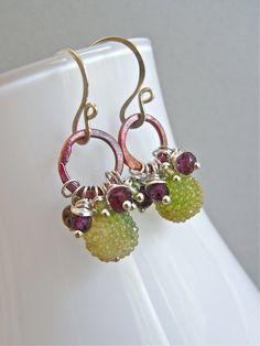 Earrings vintage sugar beads sterling by realisationcreations