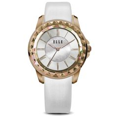 Radiant Time Collection; Watch, IP Rose Gold and White Case with Sunray Dial and White Satin Leather Strap
