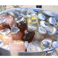 drinks in mason jars for parties or picnics. But non alcoholic because it's gonna be a Bring Your Own Booze event.
