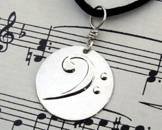 Bass Clef Pendant Necklace - Silver Music Jewelry- Keepsake for Musicians- unisex, men, Father's Day Gift, Dad charm