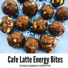 Cafe Latte Energy Bites ¼ cup chopped peanuts (unsalted) ½ cup dry old-fashioned rolled oats ½ cup all-natural nut butter ( I used peanut butter) 2 scoops Cafe Latte Vegan Shakeology 2 Tbsp. chia seeds ⅓ cup pure maple syrup 1 tsp of hazelnut extract Protein Bites, Energy Bites, Protein Snacks, Energy Snacks, Healthy Protein, Cafe Latte Recipe, Vegan Shakeology, Shakeology Cafe Latte, Chocolate Shakeology