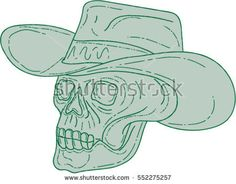 Drawing sketch style illustration of a cowboy skull chef cook wearing hat looking to the side set on isolated white background.  #cowboy #sketch #illustration