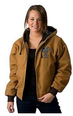 Cowgirl Hardware Brown w/ Winged Cross & Logo Crystal Canvas Jacket $86.00