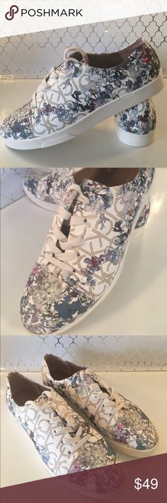 🆕CALVIN KLEIN NEW WOMENS SNEAKERS 💯AUTHENTIC CALVIN KLEIN NEW NEVER USED FLORAL SNEAKERS 100% AUTHENTIC. STUNNING AND STYLISH TOTALLY ON TREND . SO VERY BEAUTIFUL ! PERFECT FOR ANY OCCASION . VARIOUS SHADES OF WHITE, PINK, PURPLE AND SO ON. THE SIZE IS 9 Calvin Klein Shoes Sneakers