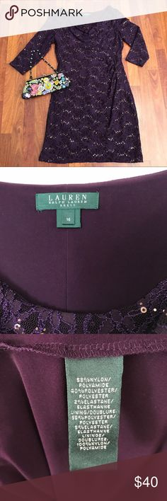 """PLUS • Lauren Elegant Dress • 16 Perfect dress for so many occasions! Pictures can't capture how beautiful this is. Modest and very forgiving. Mother-of-the-Bride/Groom dress, classy work event, or that very special date. Fully lined in eggplant stretch slip. Slight vertical gather at waist. Waist is 32"""" unstretched. Purchased new at Macy's. Worn once to a work event. Pristine condition. Please ask if you have any questions! Thank You! Lauren Ralph Lauren Dresses Long Sleeve"""