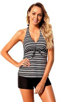 cd9ead2bdb2f2 Women Retro Style Black Stripe Deep V Neck Halter Swim Shorts 2 Piece Tankini  Swimsuit Set