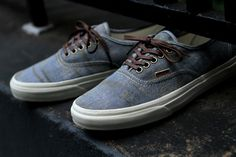 With a pair of dope jeans. #VANS Authentic California - Stained Light Blue | Sneaker | Kith NYC