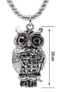 Antique Silver Colour OWL Pendant with CZ crystals - comes with 22 inch chain - large eyes with Onyx stones - Beautifully designed and hand polished to a very high jewellery standard - size of pendant 5mm GlitZ JewelZ. $12.99