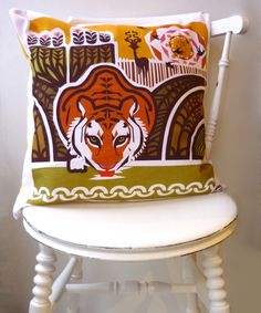 Digitally printed handmade cushion in my original tiger design. Only one in stock!    - 18in square / 45.72cm   - Professionally produced original ...