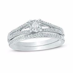 1/5 Ct Natural Diamond Split Shank Bridal Set In 10K White Gold by JewelryHub on Opensky