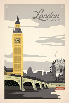 Travel Poster ... not sure this is vintage, looks like the 'London Eye' ferris wheel to the right, and it wasn't built until 1999....hmmmm...