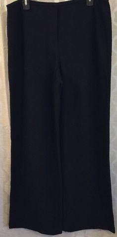 45aa0646cf Eileen Fisher Womens Black 100% Wool Wide Leg Pants Nubby Texture Size  Large L